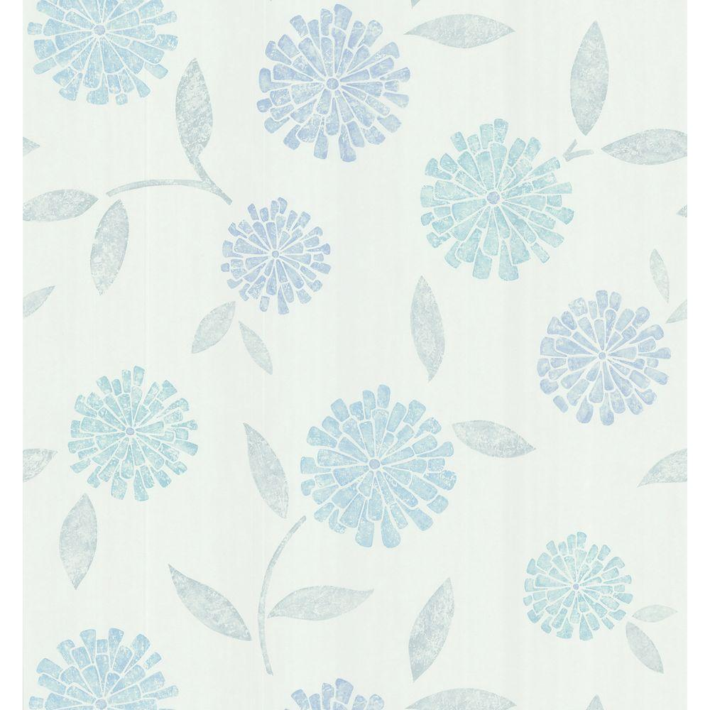 Brewster Simple Space Light Blue Zinnia Flower Wallpaper Sample 141