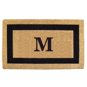 Nedia Home Single Picture Frame Black 38 inch x 60 inch Heavy Duty Coir Monogrammed M Door Mat by Nedia Home