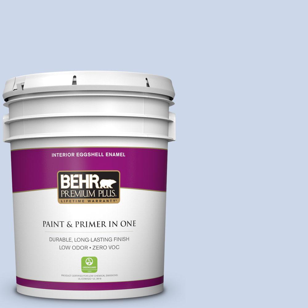 BEHR Premium Plus 5-gal. #610C-2 Calm Water Zero VOC Eggshell Enamel Interior Paint