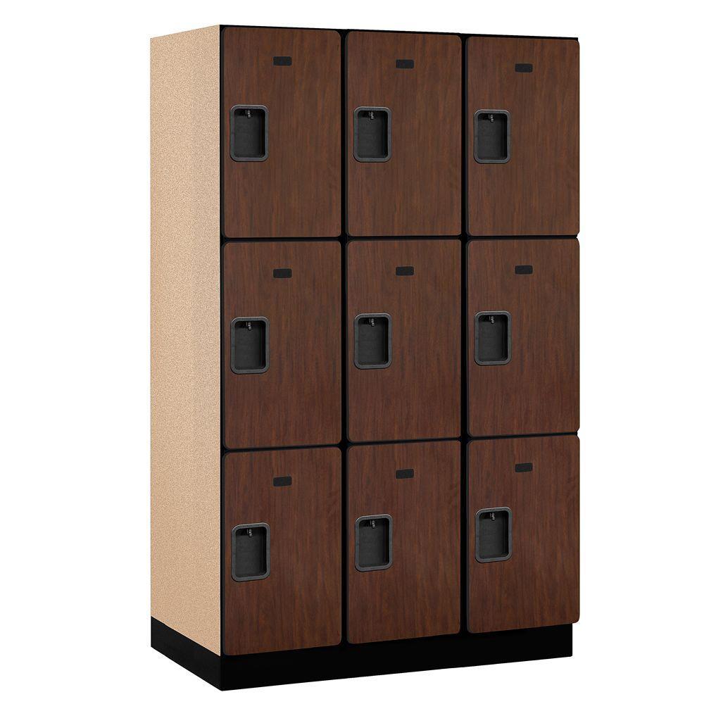 Salsbury Industries 23000 Series 3-Tier Wood Extra Wide Designer Locker in Mahogany - 15 in. W x 76 in. H x 21 in. D (Set of 3)