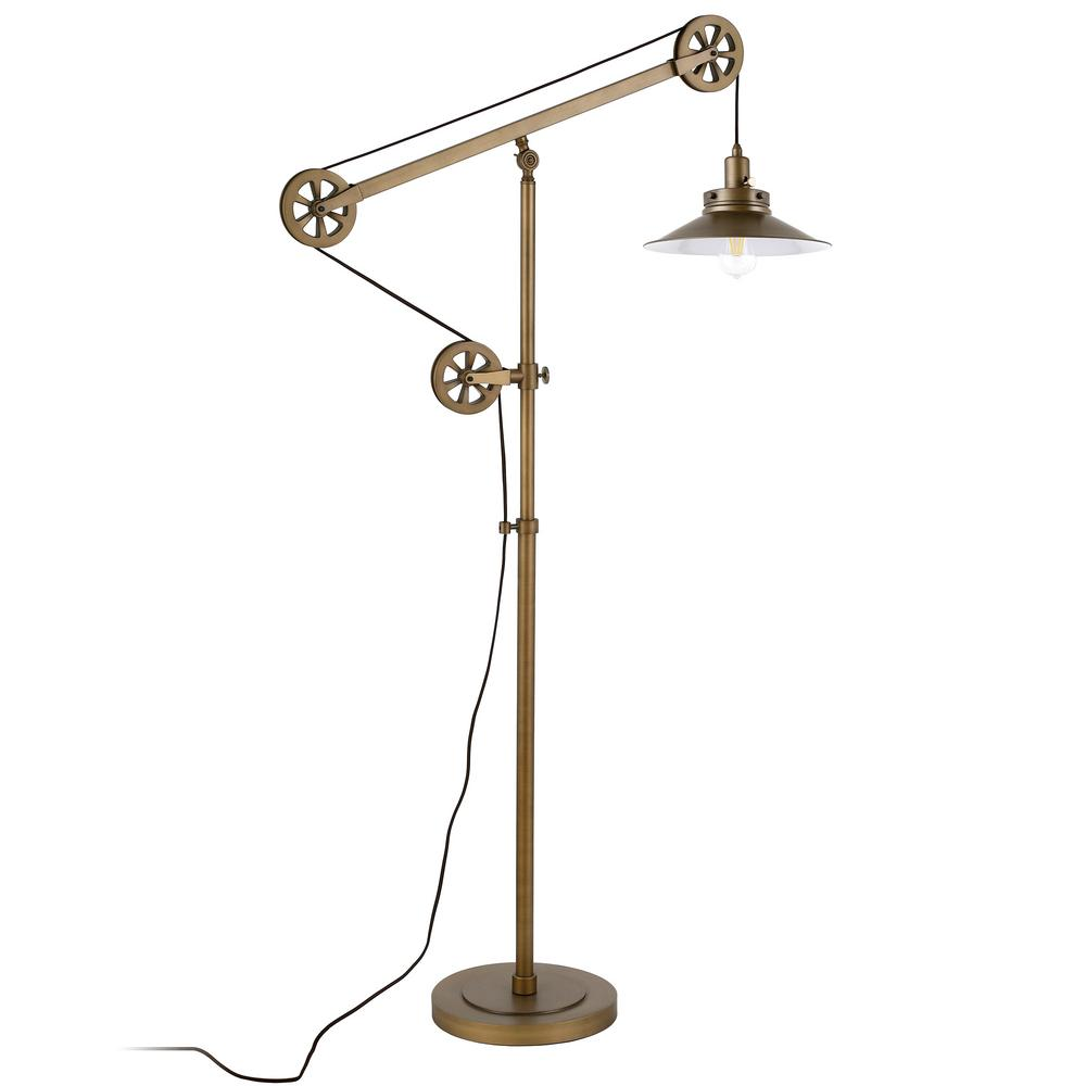 Hudson&Canal Descartes 70 in. Brass Wide Brim Floor Lamp with Pulley System