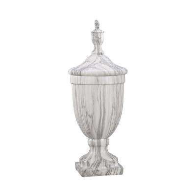Neuchatel 26 in. Ceramic Decorative Urn in Faux Marble Finish