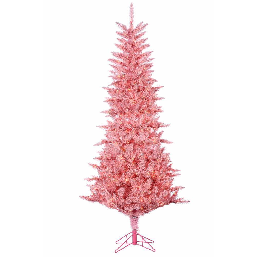 7.5 ft. Pre-Lit Pink Tuscany Tinsel Christmas Tree
