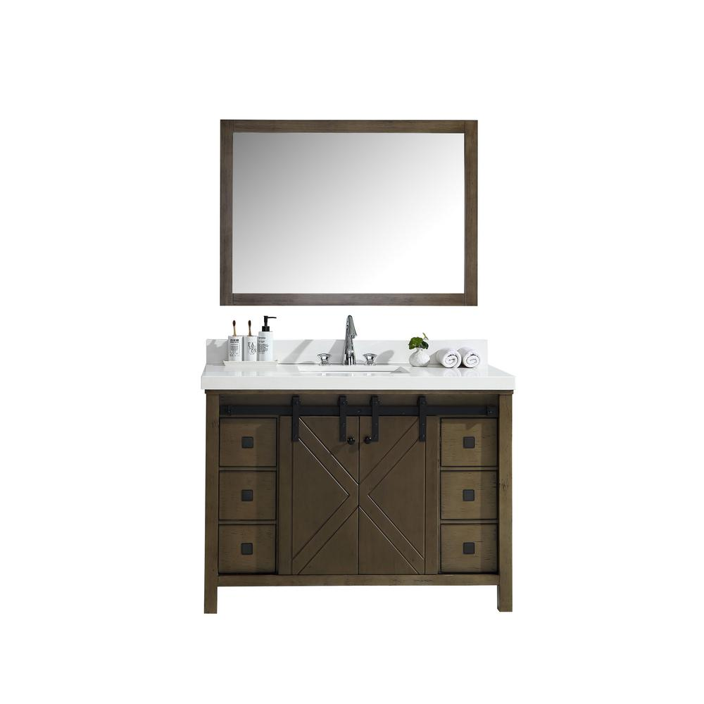 Lexora Marsyas Veluti 48 in. Single Bath Vanity in Rustic Brown w/ White Quartz Top w/ White Square Sink and 44 in. Mirror