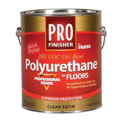 1 gal. Clear Satin 350 VOC Oil-Based Interior Polyurethane for Floors (Case of 4)