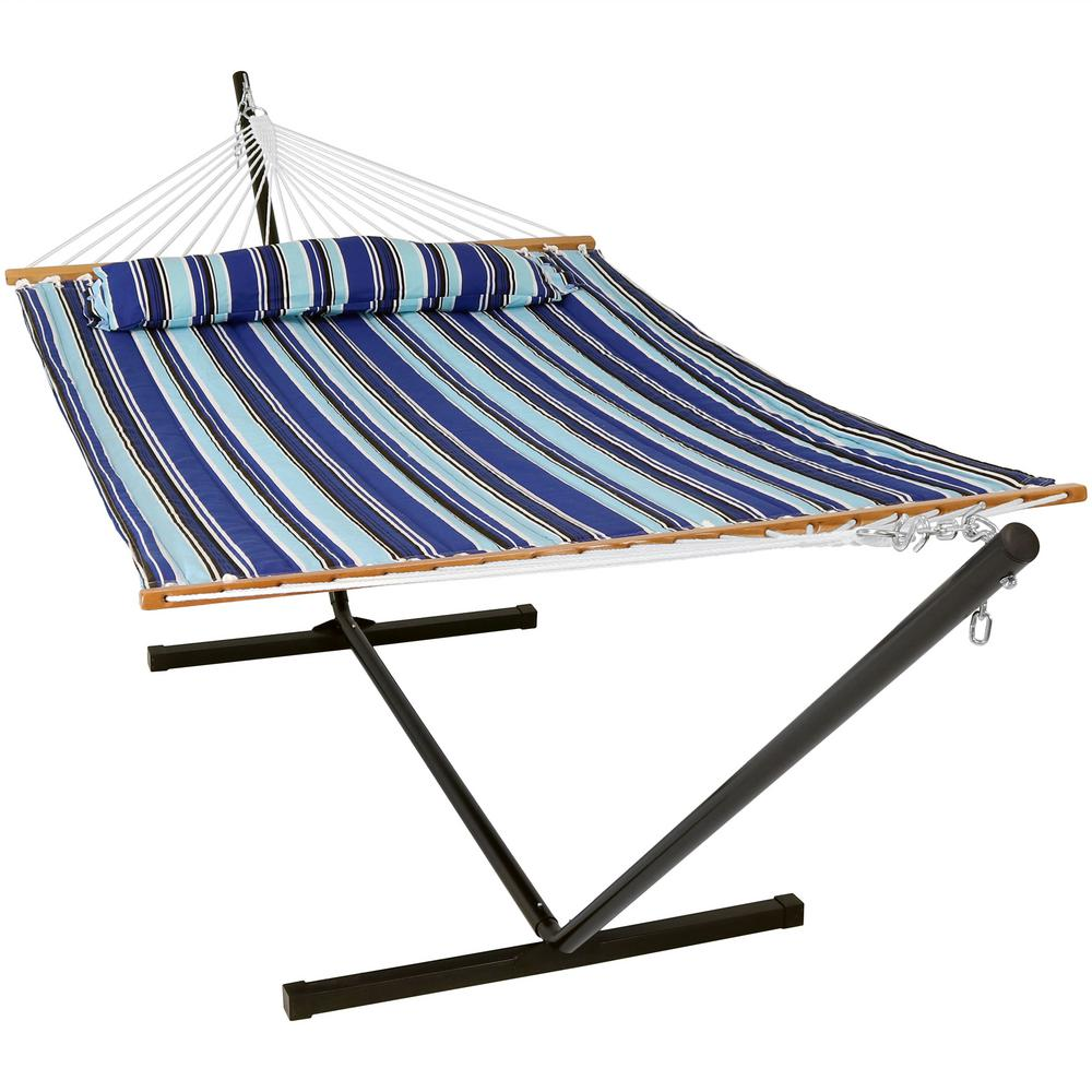 Sunnydaze Decor 10-3/4 ft. Quilted 2-Person Hammock with 12 ft. Stand in Catalina Beach
