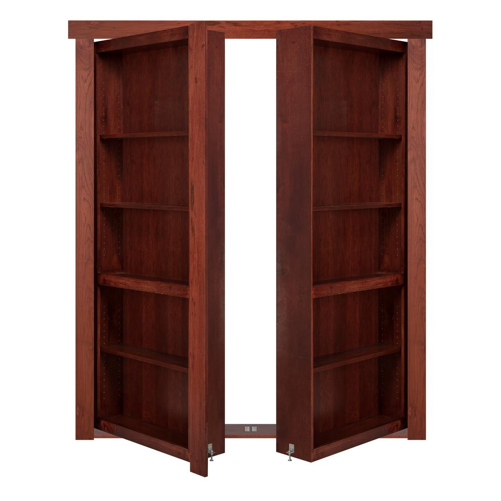 The Murphy Door 48 In X 80 In Flush Mount Assembled Hickory Cherry Stained Universal Solid