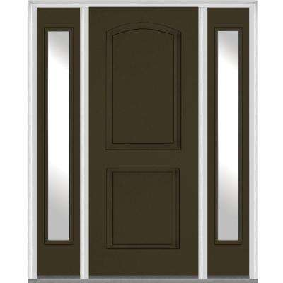 timeless design 3a48b 55396 60 in. x 80 in. Left Hand Inswing 2-Panel Arch Painted Fiberglass Smooth  Prehung Front Door with Sidelites