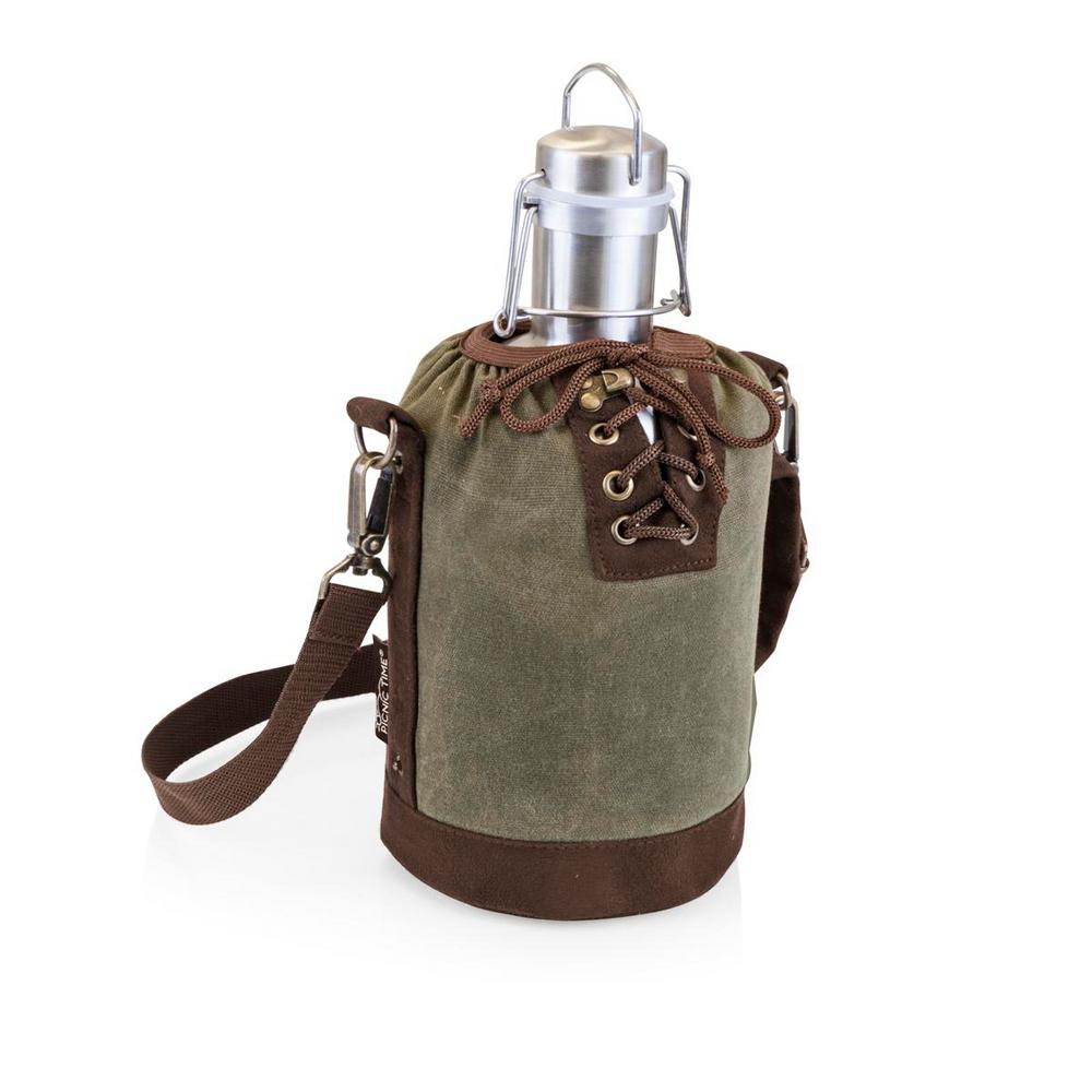 Khaki Green and Brown Insulated Growler Tote with 64 oz. Stainless