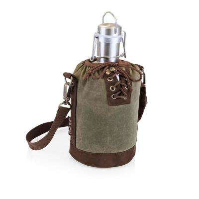 Khaki Green and Brown Insulated Growler Tote with 64 oz. Stainless Steel Growler