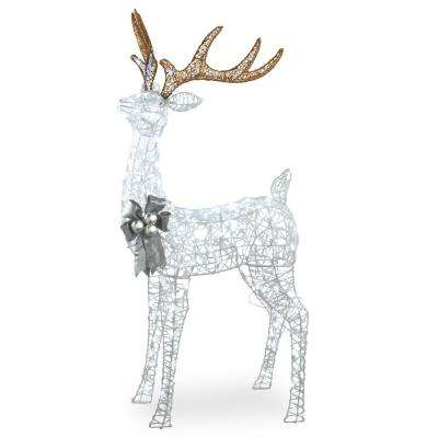 65 in. Glittered Standing Buck with 200 Cool White Twinkling LED Lights