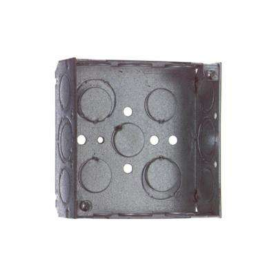 2-Gang 4 in. New Work Square Metal Electrical Box - 1/2 in. and 3/4 in. Knockouts (Case of 50)