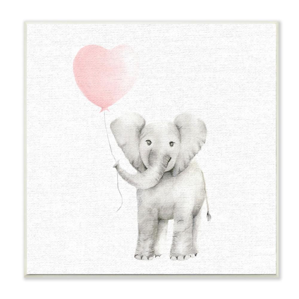 12 In X 12 In Baby Elephant Heart Balloon Linen Look By Studio Q Printed Wood Wall Art