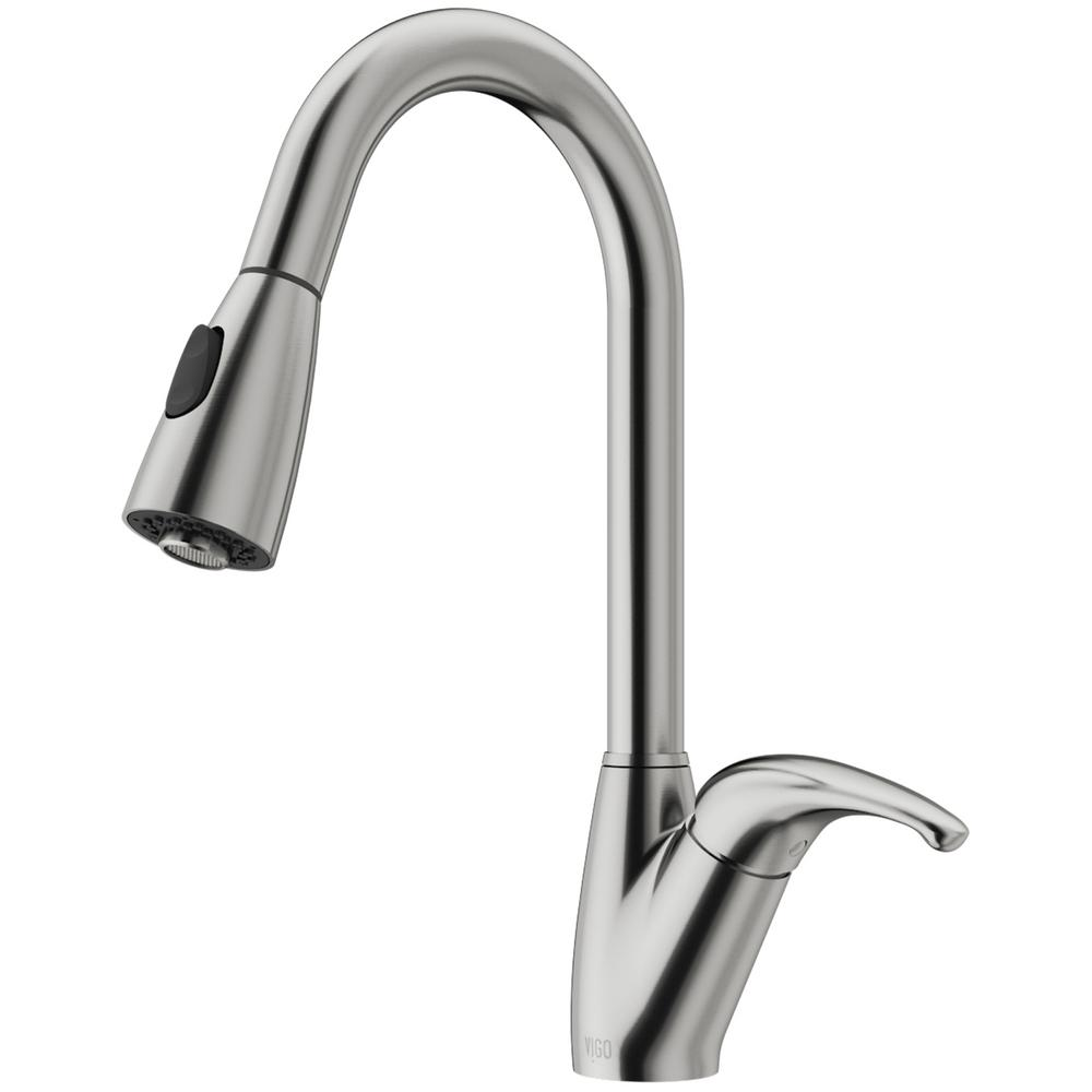 VIGO Romano Single-Handle Pull-Down Sprayer Kitchen Faucet in Stainless Steel