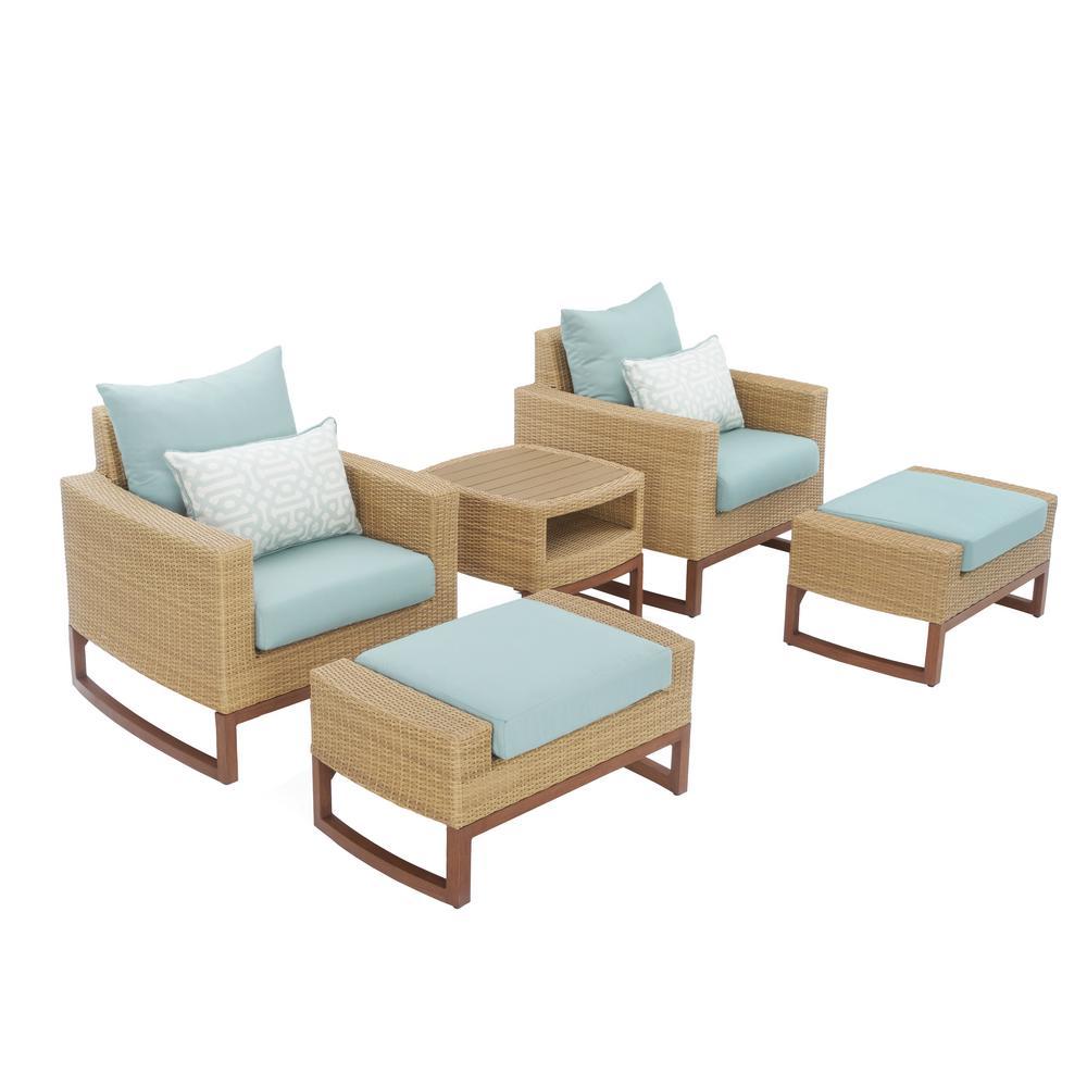 RST Brands Mili 5-Piece Wicker Patio Deep Seating Conversation Set with Sunbrella Spa Blue Cushions