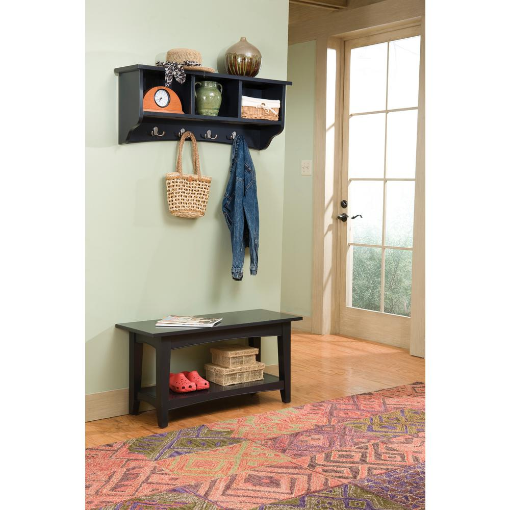 Alaterre Furniture Shaker Cottage Charcoal Gray Hall Tree With Storage