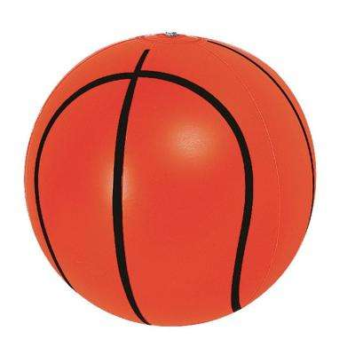 16 in. Orange and Black 6-Panel Inflatable Beach Basket Ball
