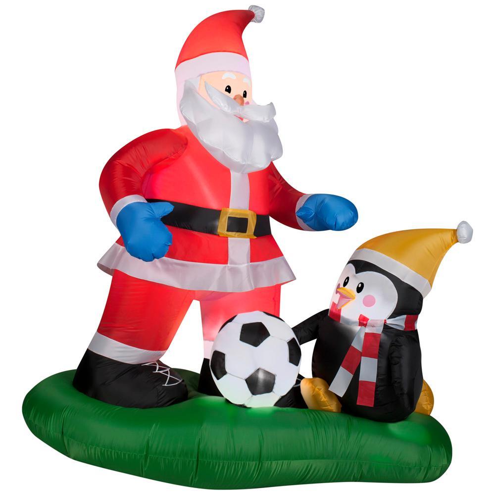 Pre Lit Led Inflatable Santa Soccer Scene Airn