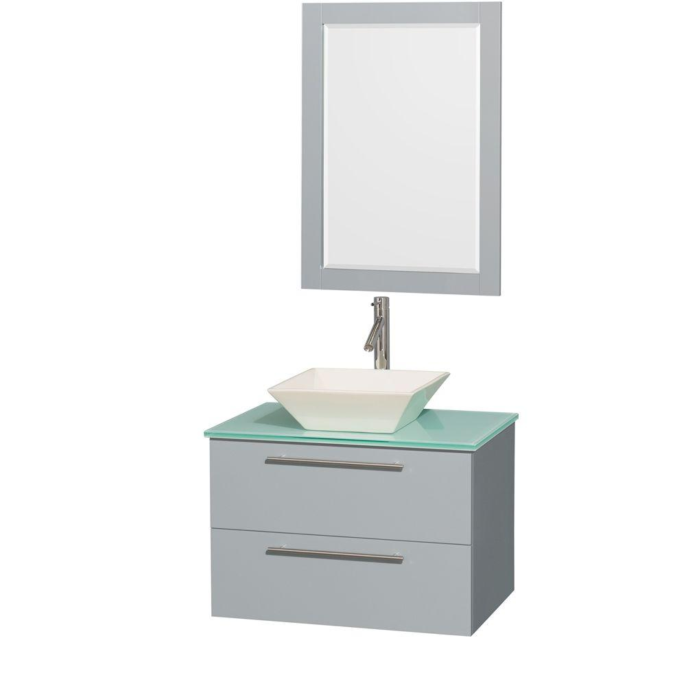 Wyndham Collection Amare 30 in. W x 20.5 in. D Vanity in Dove Gray with Glass Vanity Top in Green with Bone Basin and 24 in. Mirror