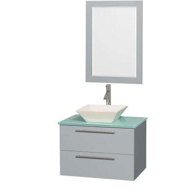 Amare 30 in. W x 20.5 in. D Vanity in Dove Gray with Glass Vanity Top in Green with Bone Basin and 24 in. Mirror