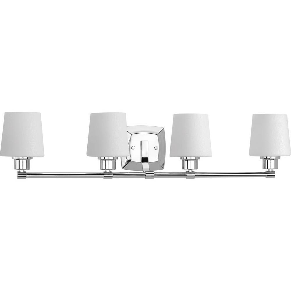 Glance Collection 4-Light Polished Chrome Bathroom Vanity Light with Glass Shades