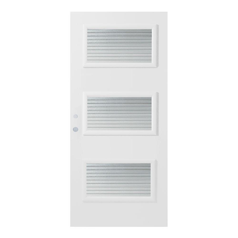36 in. x 80 in. Dorothy Masterline 3 Lite Painted White