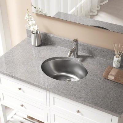 Dual-Mount Bathroom Sink in Stainless Steel with Pop-Up Drain in Chrome