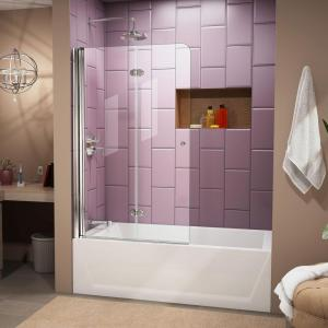 Frameless Hinged Tub Door In Chrome With