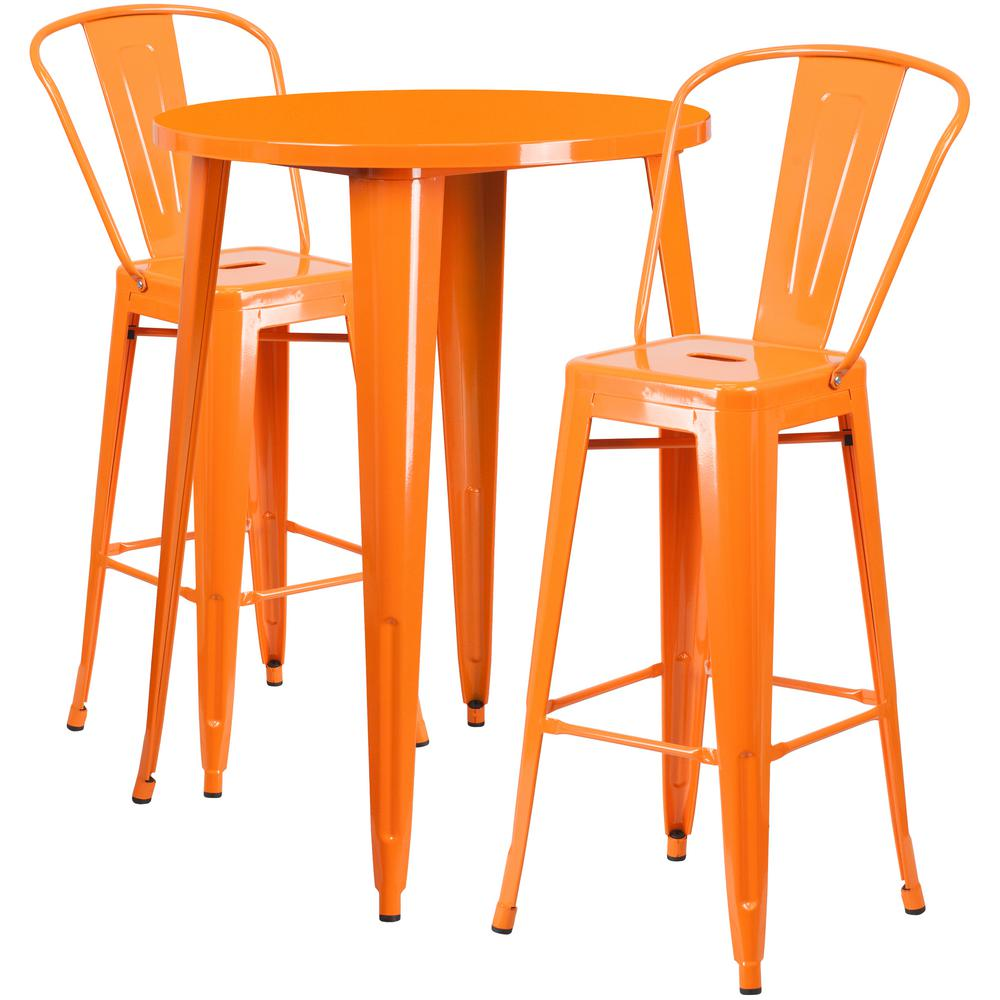 Flash furniture orange 3 piece metal round outdoor bar height bistro set