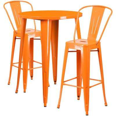 Orange 3-Piece Metal Round Outdoor Bar Height Bistro Set