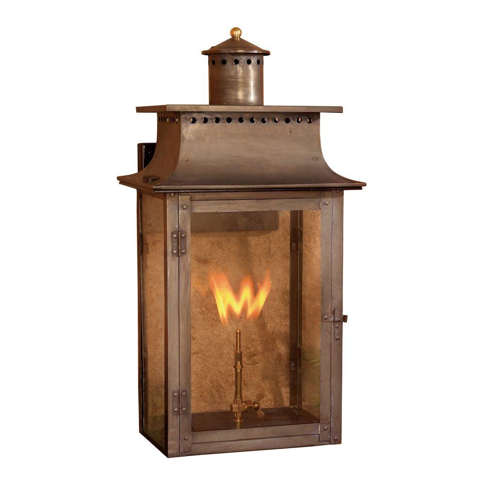 Titan Lighting Maryville 27 in. Outdoor Washed Pewter Gas Wall Lantern