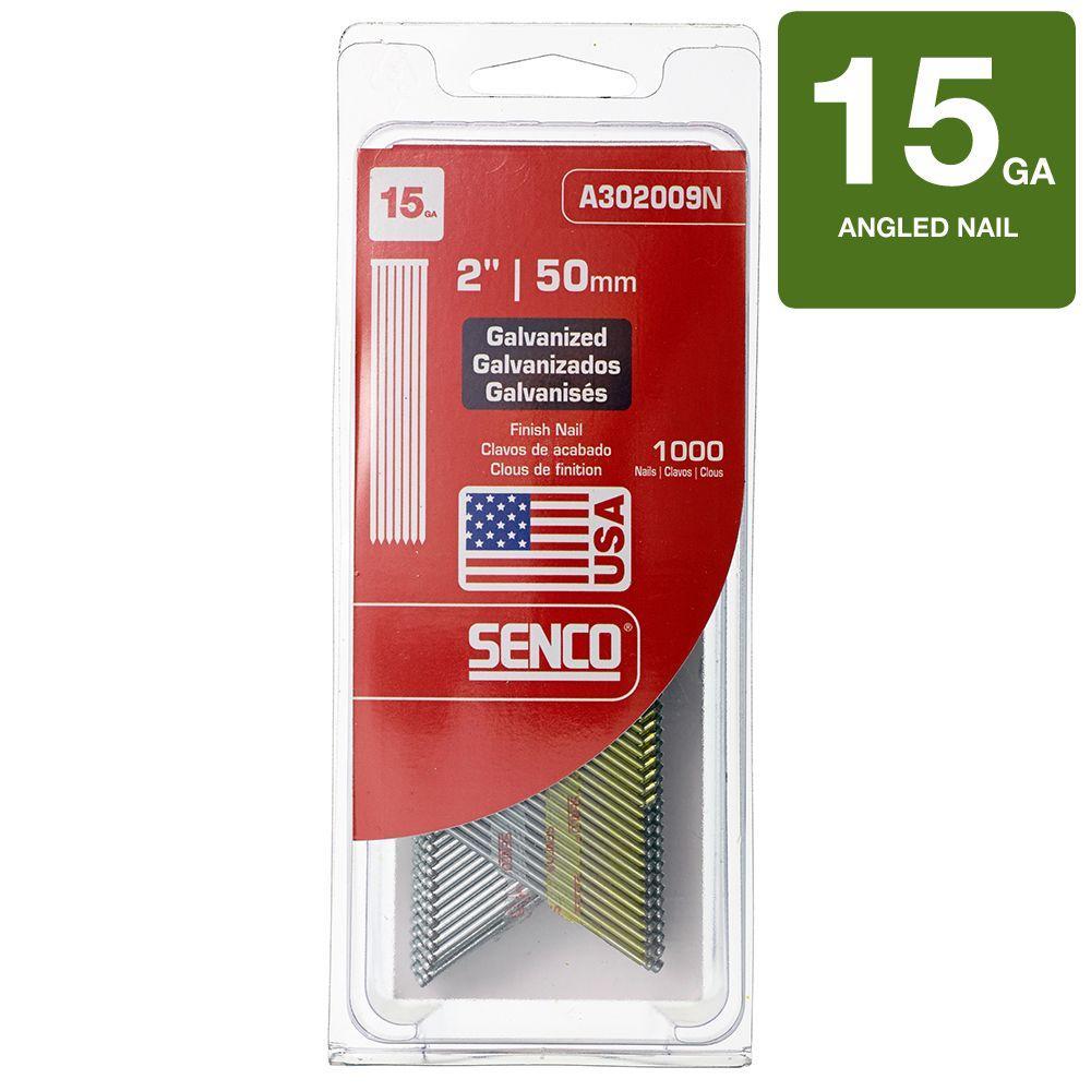 Senco 2 in. x 15-Gauge 34 Degree Galvanized Brad Nails-A302009N ...