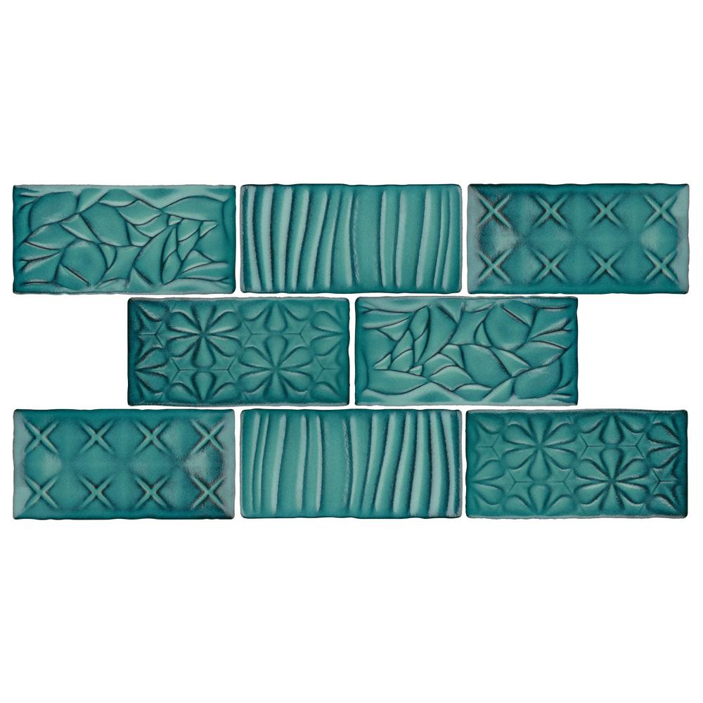 Merola Tile Antic Sensations Lava Verde 3 in. x 6 in. Ceramic Wall Subway Tile (1 sq. ft. / pack), Lava Verde / Medium Sheen was $20.99 now $13.57 (35.0% off)