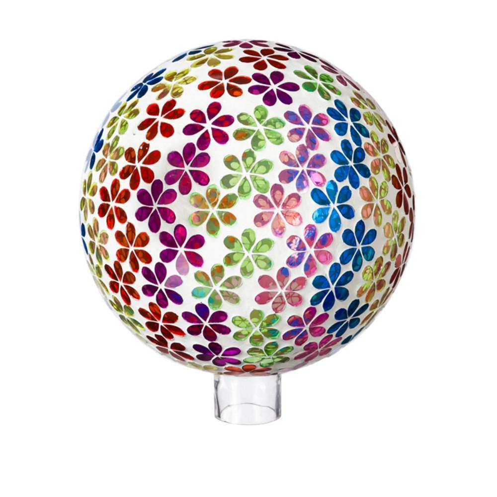 Evergreen Garden 10 in. Bright's Mosaic Floral Gazing Ball This gazing ball will look great in your home or garden. Made of glass, it is safe for indoor or outdoor use. Approximately 10 in. Dia.