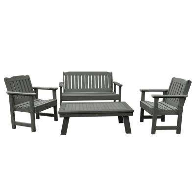Lehigh Coastal Teak 4-Piece Recycled Plastic Outdoor Conversation Set