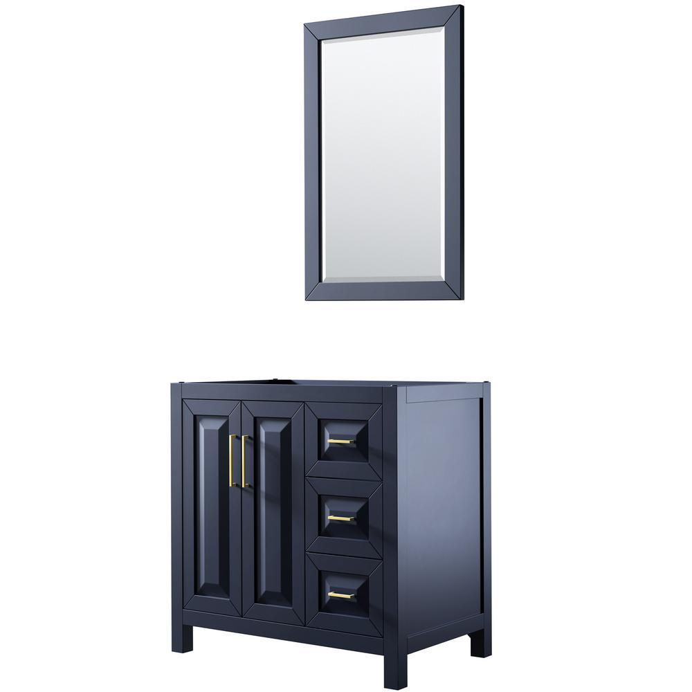 Daria 35 in. Single Bathroom Vanity Cabinet Only with 24 in. Mirror in Dark Blue