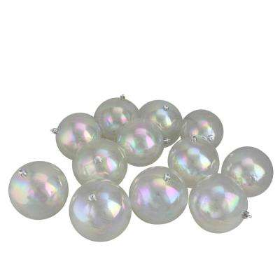 Shatterproof Clear Iridescent Christmas Ball Ornaments (12-Count)