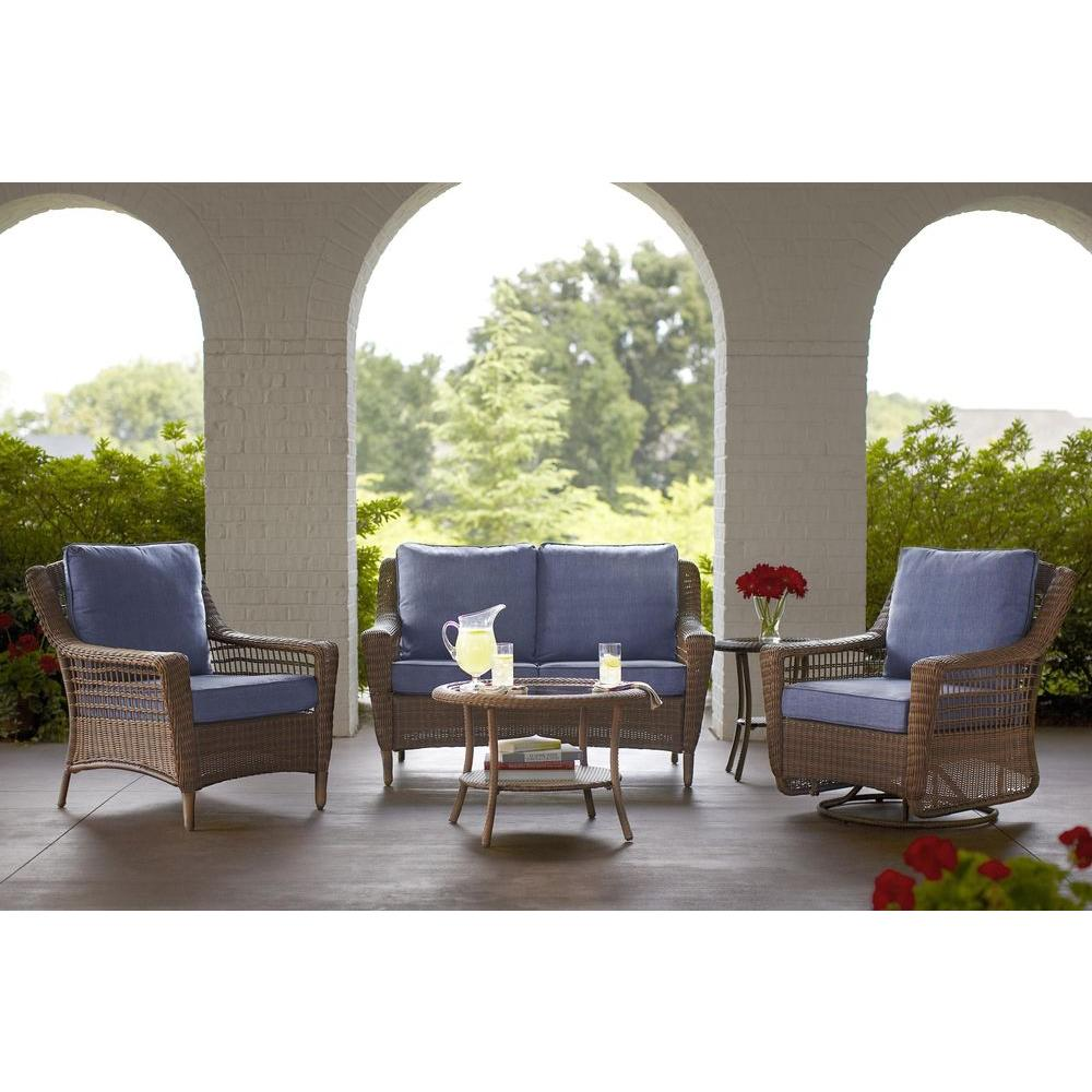 Hampton Bay Spring Haven Brown 5 Piece All Weather Wicker Outdoor Patio Seating Set
