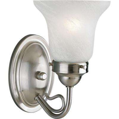 Bedford Collection 1-Light Brushed Nickel Bath Sconce with Alabaster Glass Shade