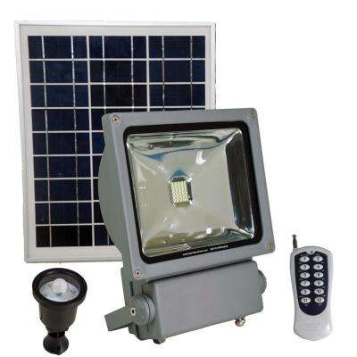 100 Watt Super Bright 30 Motion Activated Grey Outdoor Integrated LED Solar Power Flood/Security Flood Light Remote