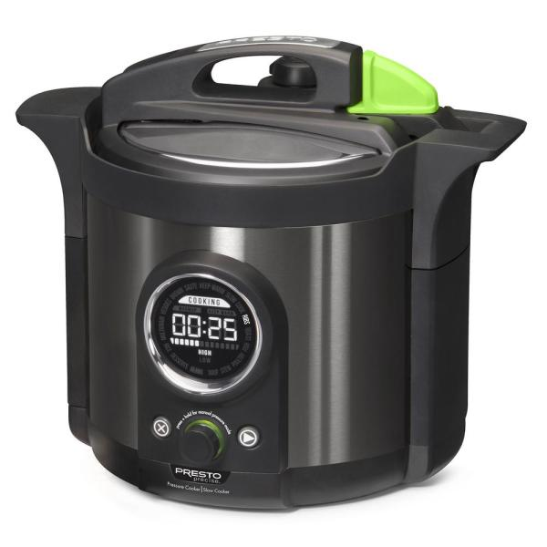 Presto Precise Plus 6 Qt. Black Stainless Steel Electric Pressure Cooker with Built-In Timer