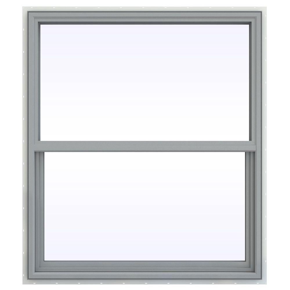 JELD-WEN 41.5 in. x 47.5 in. V-4500 Series Single Hung Vinyl Window - Gray