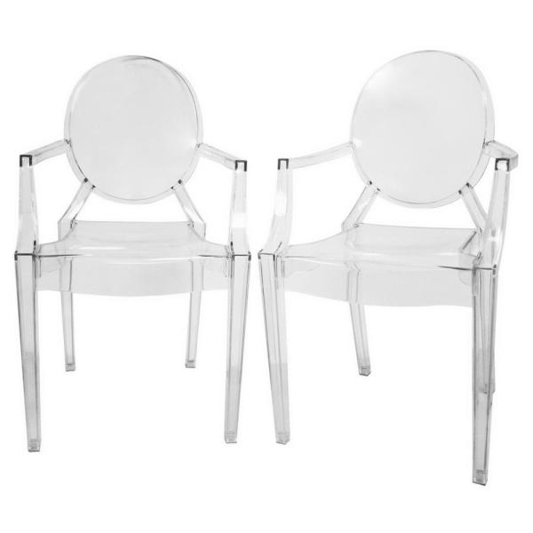 Baxton Studio Dymas Clear Finished Plastic Dining Chairs (Set of 2)