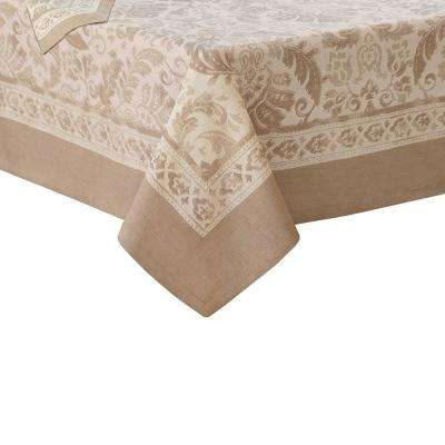 Milano 70 in. W x 96 in. L Fabric Tablecloth in Taupe