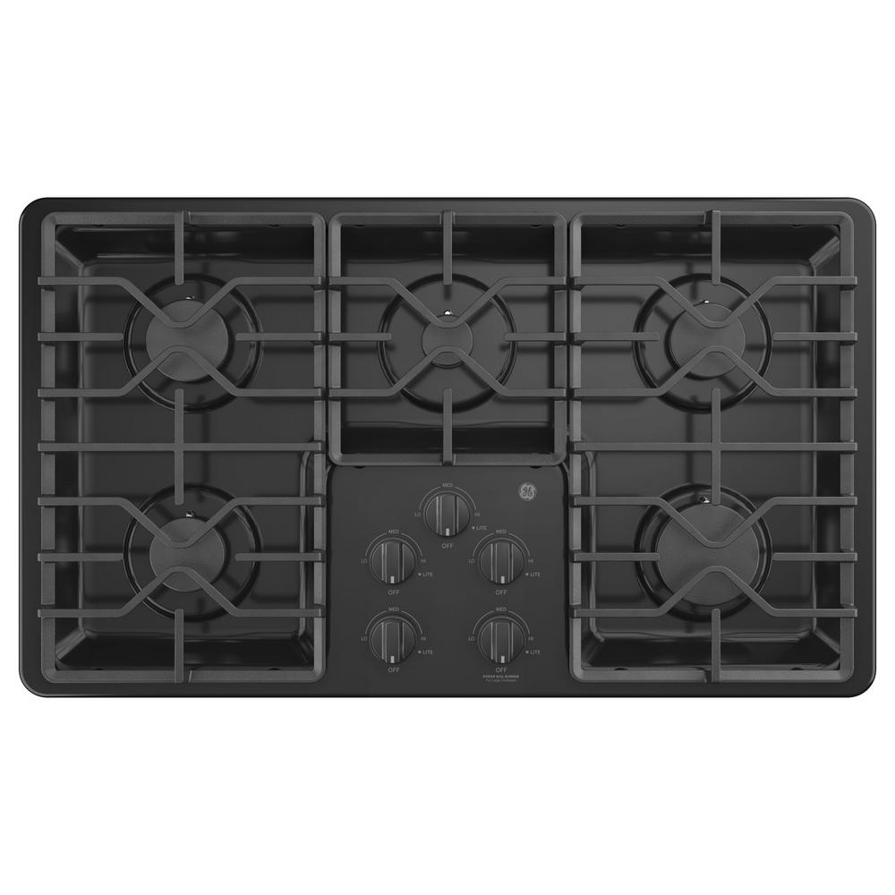 GE 36 In. Built In Gas Cooktop In Black With 5 Burners Including Power Boil  Burners JGP3036DLBB   The Home Depot