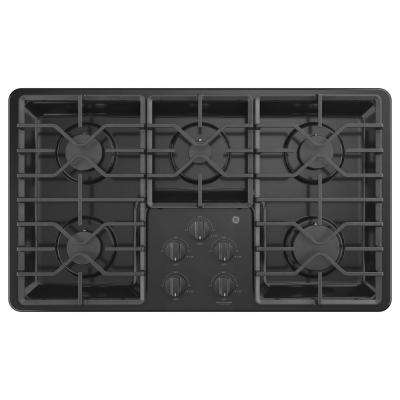 36 in. Built-In Gas Cooktop in Black with 5 Burners including Power Boil Burners