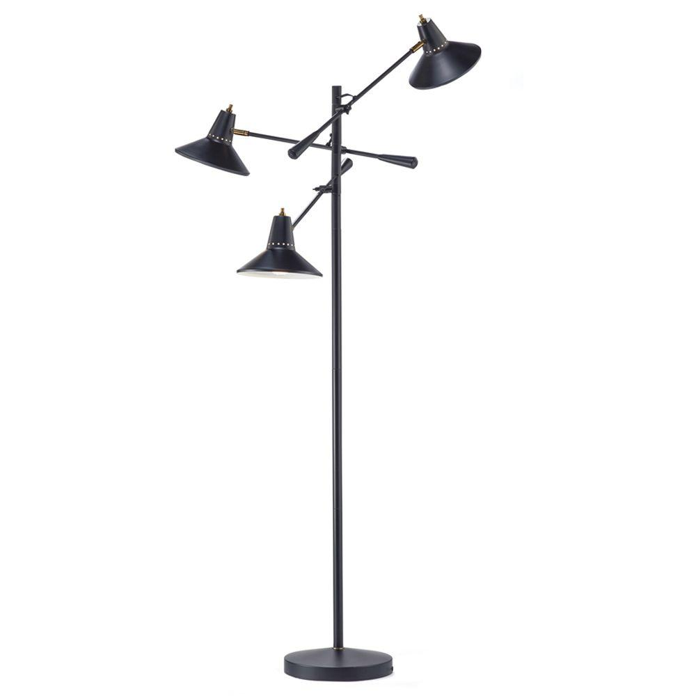 Adesso Nelson 68 in. Black 3-Arm Adjustable Floor Lamp-3683-01 ...
