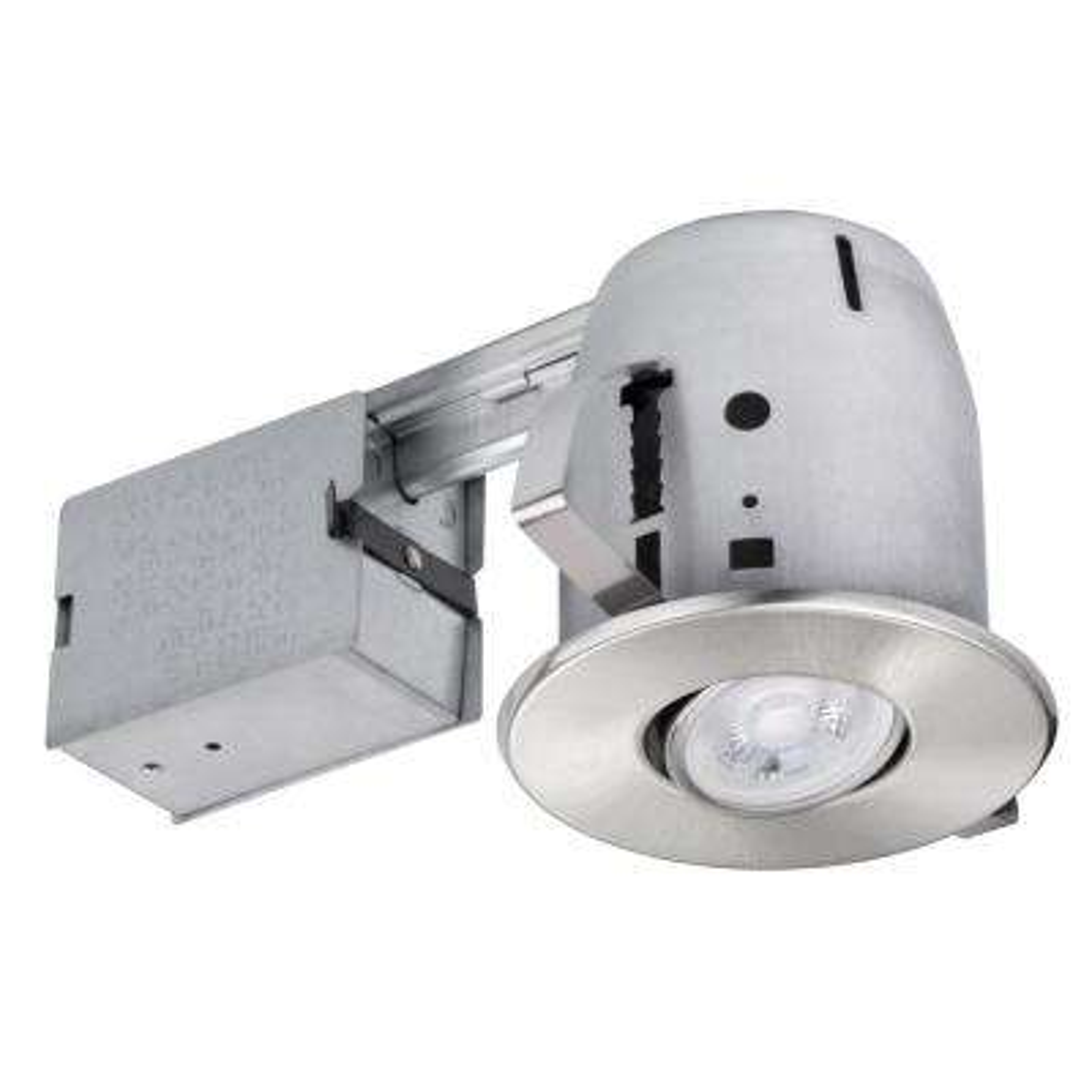 4 in. Brushed Nickel LED Swivel Spotlight Recessed Lighting Kit Dimmable Downlight