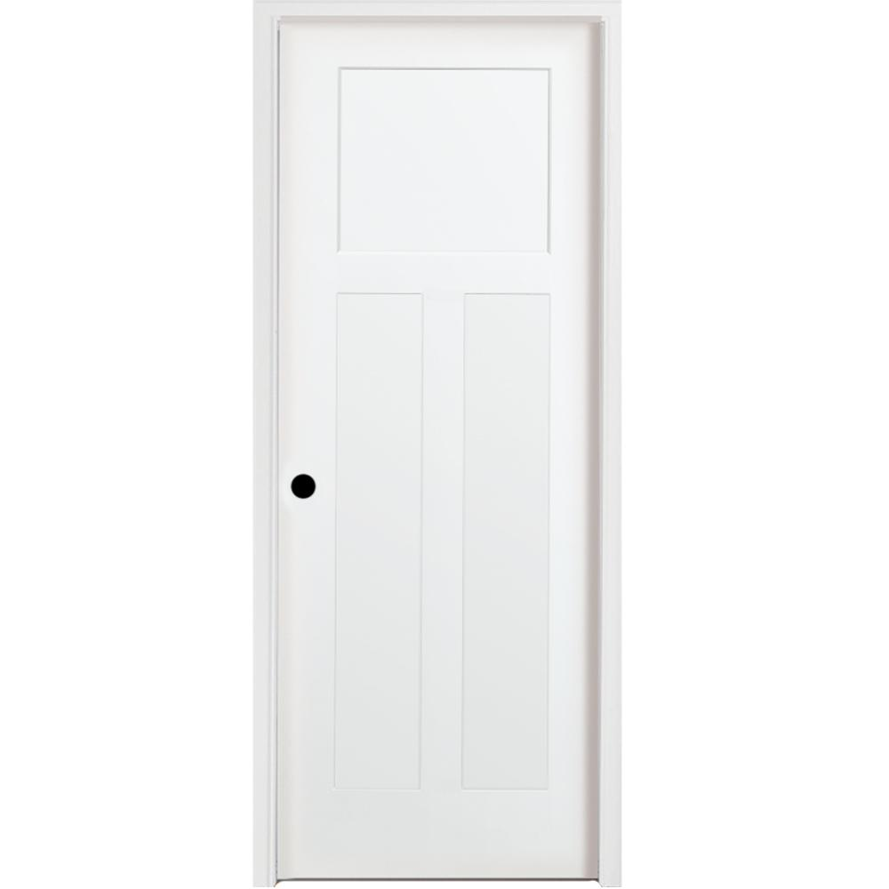 36 in. x 80 in. 3-Panel Mission Shaker Primed Right Hand