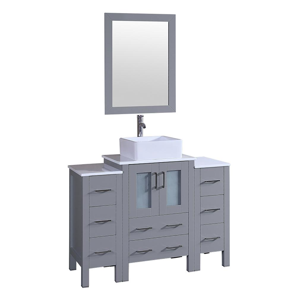 Bosconi 48 in. Single Vanity in Gray with Vanity Top in White in White with White Basin and Mirror
